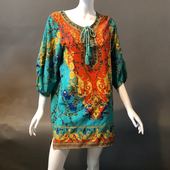 NLW Tops - Scarf Pattern Tunic Dress